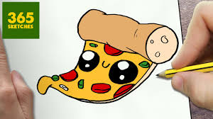 HOW TO DRAW A PIZZA CUTE Easy step by step drawing lessons for kids