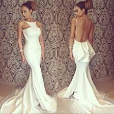 Sexy White Mermaid Evening Dresses Long 2016 New Designer Halter Backless Tiered Unique Back Design Formal