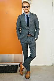 Mens Charcoal Blazer Light Blue Long Sleeve Shirt Dress Pants Tan Leather Oxford Shoes