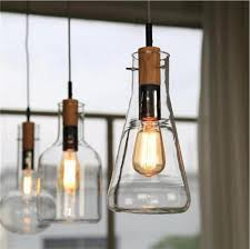 Modern Clear Glass Laboratory Bottle Pendant Light Fixture DIY Home Decoration Dinning Room Bar Cafe Wood