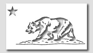 California Bear State Flag Stencil