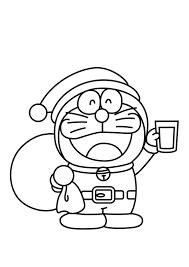 Printable Coloring Pages Christmas Santa Doraemon