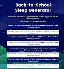 Calculator creates a sleeping schedule to kids ready to wake