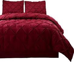 Lush Decor Belle 4 Piece Comforter Set by Pinch Pleat Burgundy Color Cal King Size 4 Piece Comforter Set