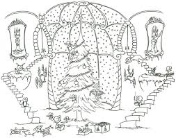 Coloring Pages Monkeys Decorating A Christmas Tree With Help From Some Hummingbirds