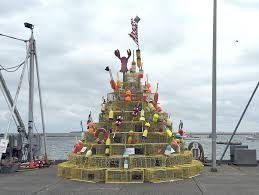Decorative Lobster Trap Buoys by Lobster Pot Christmas Tree Erected On Town Wharf News Wicked