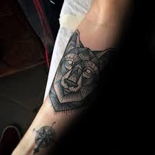 Geometric Wolf Tattoo Simple Compass And Idea On