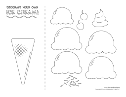 3 Scoop Ice Cream Coloring Page
