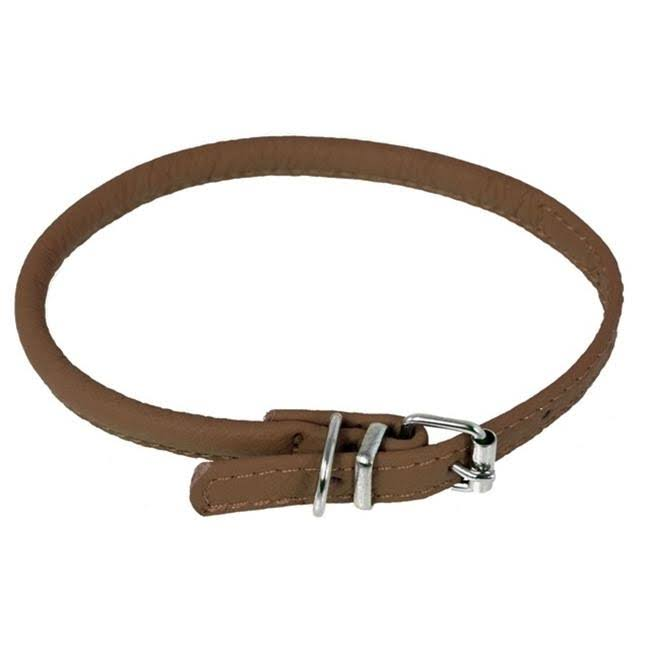 "Dogline Soft and Padded Rolled Round Leather Collar For Dogs - 18"" to 21"", Brown"