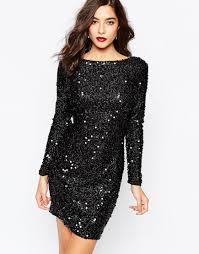 warehouse sequin shift dress in black lyst