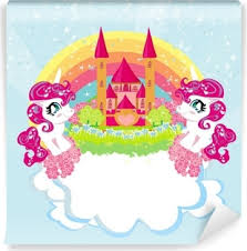 Card With A Cute Unicorns Rainbow And Fairy Tale Princess Castle Vinyl Wall Mural