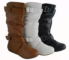 women fashion mid calf faux leather flat boots cute style designer