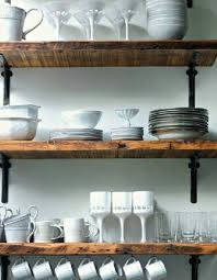 Reclaimed Wood Shelving Metal Brackets Laundry Room ShelvingDining