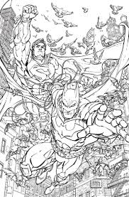BATMAN SUPERMAN 28 Adult Coloring Book Variant Cover By FREDDIE E