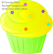 Clip Art Image of a Cartoon Bakery Cupcake Decorated With Sprinkles