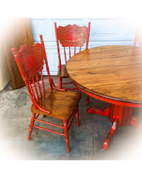 Farmhouse Kitchen Table W Leaf Rustic Dining Shabby Chic