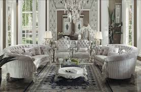 Tufted Velvet Sofa Set by Acme 52085 Versailles Ivory Velvet Bone White Sofa 4pcs Set Ebay