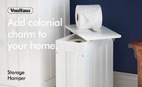 vonhaus aufbewahrungskorb im kolonialstil für badezimmer wäschekorb mit deckel 30 x 17 x 35cm