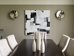 The Gracious Mirrored Wall Sconces Dining Room With Abstract Art And On