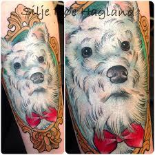 Cute White Puppy Dog Tattoo Portrait On Arm