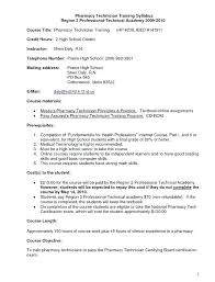 Pharmacy Technician Resume Examples Sample Objective No Experience For Certified