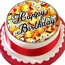 vorgeschnittener kuchenaufleger happy birthday mit emoji motiv essbare kuchendekoration aus zuckerguss smileygesichter