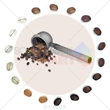 Stock Illustration Of Basic Image Off Coffee In Machine Spoon With Bean Border
