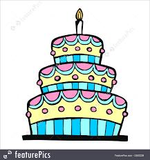 Celebration Colorful birthday cake on white background