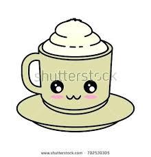 Kawaii Coffee Mug Delicious Cute Cartoon Vector Drawing