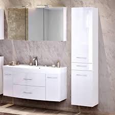 lomadox badezimmer set in hochglanz weiß 120cm waschtisch