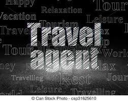 Vacation Concept Travel Agent In Grunge Dark Room Stock Illustration