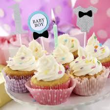 BESTOYARD 3pcs Cake Topper Flag Baby Boy 1 Year Old Age Happy Birthday Cake Topper For Cake Decoration