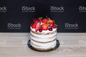 Naked Fruit Cake Homemade Rustic Wedding Royalty Free Stock Photo