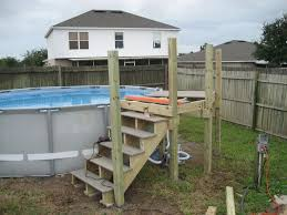Above Ground Pool Ladder Deck Attachment by My Intex 16x48 With Custom Deck And Stairs