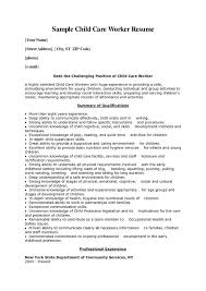 Resume Template Example Format Examples Of Work Experience With Children On