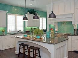Turquoise Kitchen White Subway Tile