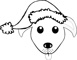 Palomaironique Dog Face Cartoon Grey With Santa Hat Scalable Vector Graphics SVG Clip Art Coloring Book Colouring Black White Line Bw Xmas Christmas