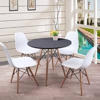 esstisch mit 4 stühlen weiß esszimmer essgruppe runde 70x70x76cm lässiger tisch skandinavischer stil mdf