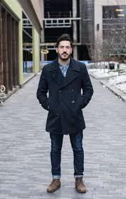 Mens Peacoat Navy Blue Winter Coat