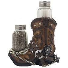 Fancy Cowboy Boot Salt And Pepper Shaker Set With Decorative Display Holder Figurine Featuring Spur Texas Star For Country Western Kitchen Decor Table