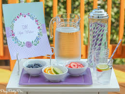 Since This Was A DIY Party I Setup Spa Water Station Complete With Ice Fresh Fruit And Of Course Striped Straws That Bought From Painting