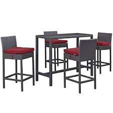 Convene Modern Rattan 5 Piece Outdoor Patio Glass Pub Table/Chairs  Set,Brown Red   EBay