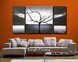 3 Panel Wall Art Hand Painted Black White Modern Home Decorate Wal Artwork