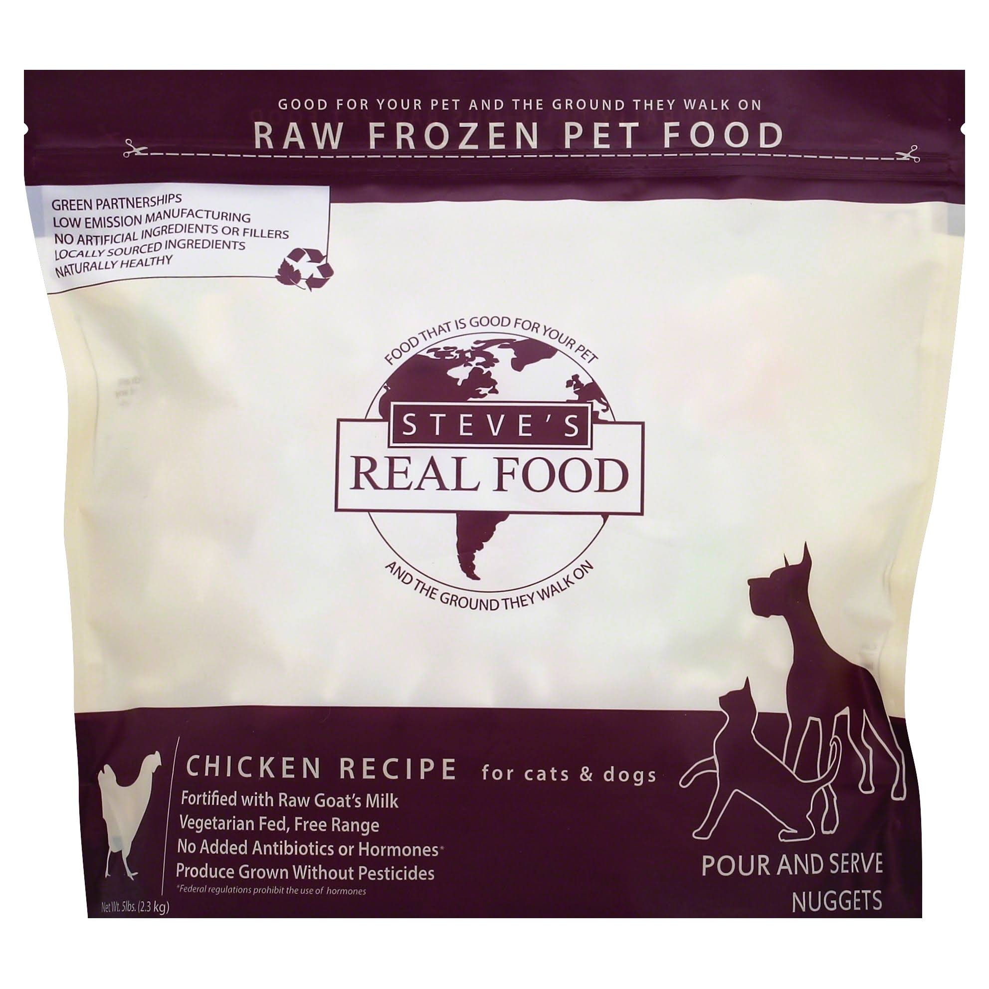 Steves Real Food Pet Food, Raw Frozen, Chicken Recipe, Pour and Serve Nuggets - 5 lb