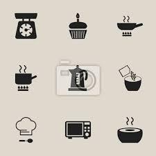 set 9 editierbaren küchen icons enthält symbole wie kochtopf bilder myloview