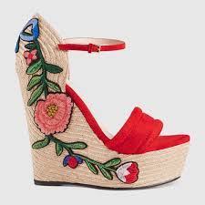gucci embroidered suede platform espadrille hibiscus red suede