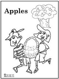 Coloring Page Boy And Girl Carrying A Basket Of Apples