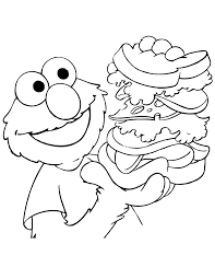 Elmo Eats Lunch Coloring Page
