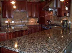 tile backsplash to coordinate with baltic brown granite master