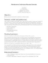 Maintenance Mechanic Job Description Resume Example Building